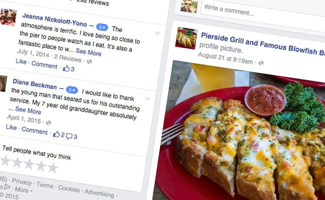 Screenshot of PierSide GrilL'S Facebook profile